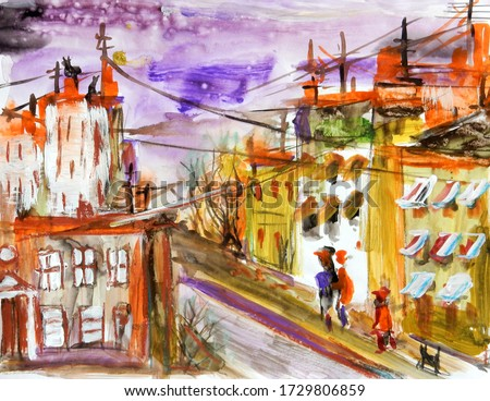 abstract textured watercolor drawing of the old town in red yellow tones