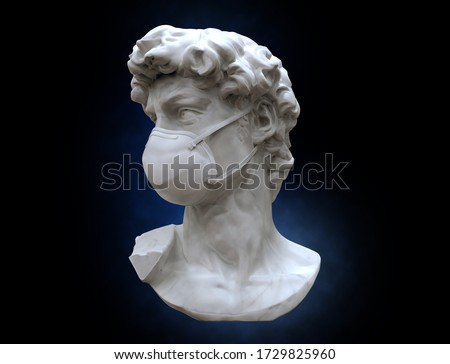 3D rendering illustration David of Michelangelo sculpture wearing surgical N95 mask visual concept isolated on gray background included with object clipping path
