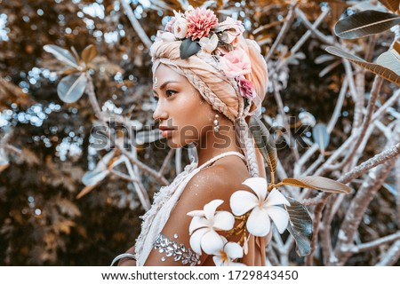beautiful young stylish woman wearing flowers wreath outdoors portrait Royalty-Free Stock Photo #1729843450