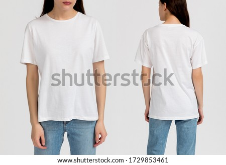 White t-shirt. Template of a women's t-shirt of white color Royalty-Free Stock Photo #1729853461
