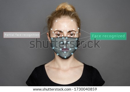Face Recognition In Medical Mask Using Artificial Intelligence And Neural Networks. Biometric scanning Face ID. Identification of Person Through System Of Recognition. Polygon Vector Wireframe Concept Royalty-Free Stock Photo #1730040859