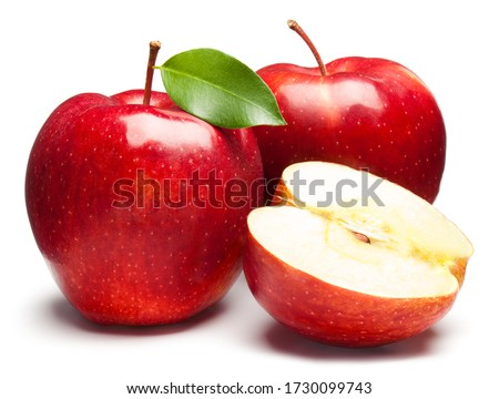 Red Apples on white. This file is cleaned, retouched and contains clipping path. Royalty-Free Stock Photo #1730099743
