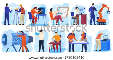 Engineering project construction, engineers workers, architect and surveyor in industrial building people at work isolated collection vector illustrations. Technology engineering projects. Royalty-Free Stock Photo #1730102410