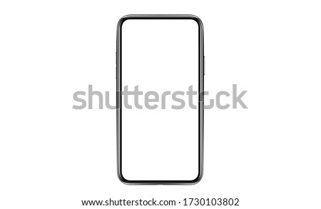 smartphone frameless with a blank screen lying on a flat surface. High Resolution Vector #1730103802