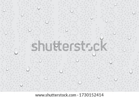 Drops of water flow on window.Water droplets on a transparent glass. #1730152414