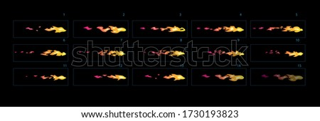 Fire explosion effect during the shot with the gun. Fire burst animation. Cartoon style  fire animation sprites sheet.– Vector