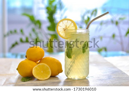 Citrus iced lemonade in pitcher and glasses with lemon slice and mint leaves decoration and on marble table on natural background. Fresh summer drink beautiful picture. Copy space