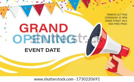 Grand opening banner template. Advertising design for social network vector illustration. Template for retail promotion and announcement. Online shopping and marketing flyer with megaphone in hand #1730220691