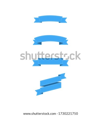 Ribbons banners with white lines. Blue ribbons banners, isolated on white background. Collection of three blue ribbons in trendy flat design. Empty banner. Eps10 #1730221750