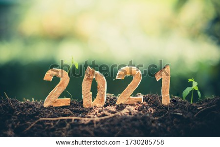 Happy New Year 2021 social media video.2020-2021 change background new year resolution concept.wood text on ground.Perfect for your invitation or office card #1730285758