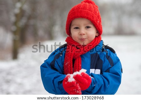 Little boy, playing in the snow