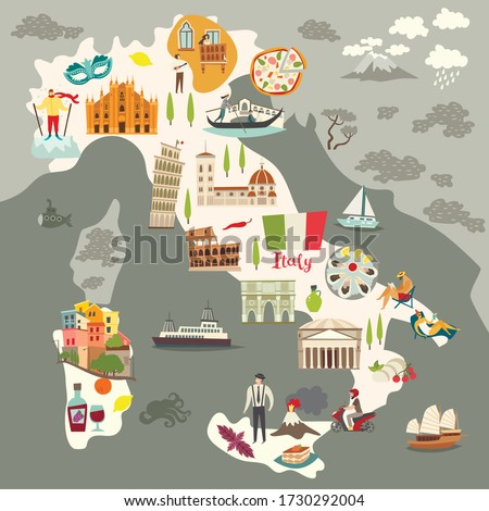 Italy map vector. Illustrated colored map of Italy. Cartoon abstract atlas of Italy with landmark: Coliseum, The Rome Cathedral, Milan Cathedral and Pisa Tower. Gondola on Canal Grande, venetian mask #1730292004