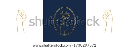 Vector line feminine decoration design elements set - flower and female gesture hands illustrations minimal linear style. Collection mystical outline graphics for logo emblems and product branding #1730297572