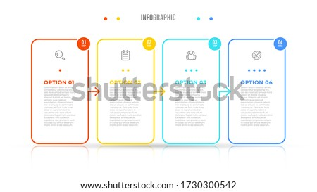 Vector infographic elements thin line design label with icons. Business concept with 4 options, steps. Can be used for workflow diagram, info chart, graph. #1730300542
