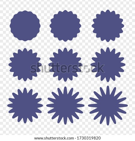 Set of badges - Big set of vector graphic circle frames for design. Circle wave line and wavy zigzag pattern lines. Vector blue outlines, round curvy squiggles Royalty-Free Stock Photo #1730319820