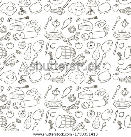 Pattern freehand drawing food elements