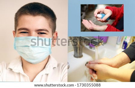 Corona virus protection methods to prevent spreading coronavirus. Boy wearing face mask. Hand washing and antiseptic use. #1730355088