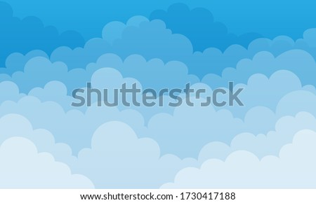 Sky and Clouds, Beautiful Background. Stylish design with a flat, cartoon poster, flyers, postcards, web banners. holiday mood, airy atmosphere. Isolated Object. Design Material. Vector illustration.