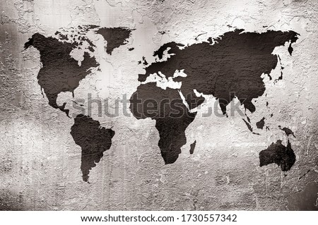 grunge map of the world over metal texture