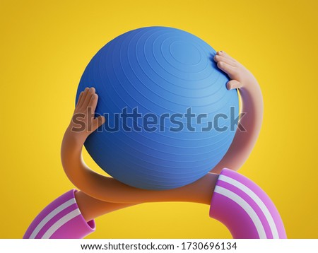 3d render, flexible hands hold blue fitness ball, isolated on yellow background. Physical activity at home, indoor fitness exercise routine, extraordinary funny surrealistic clip art, sport motivation