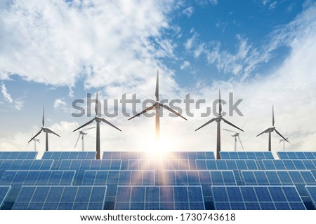 solar cell plant and wind generators under blue sky on sunset.Powerplant with photovoltaic panels and eolic turbine.clean energy and eco energy concept. #1730743618