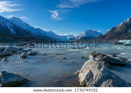 Winter mountain landscape with cold icy blue river waters and ice icebergs. Winter landscape of Tasman river and lake in Mount Cook National Park, New Zealand  #1730749102