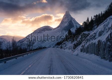 Stetind, Norway's national mountain in a morning sunrise in winter season, Norway, Scandinavia, Europe #1730820841