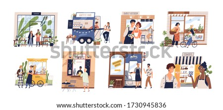 Set of happy cartoon diverse people work at family business vector flat illustration. Collection of owners and customers with small shop, cafe, store facades and services isolated on white #1730945836