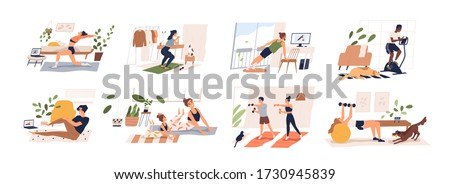 People doing exercises with dumbbell, squat, practice yoga, cycling. Men, women, families and couples doing sports at home. Home workout collection. Vector illustration in flat cartoon style #1730945839