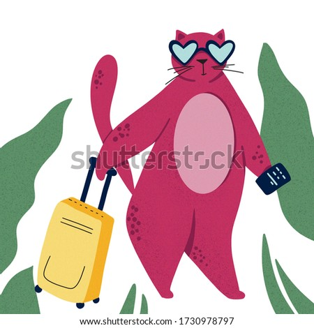Cat goes to trip. Color flat hand drawn character. Palm, passport, suitcase clipart. Isolated scandinavian cartoon illustration of summer vacation and travelling theme. On vacation quote
