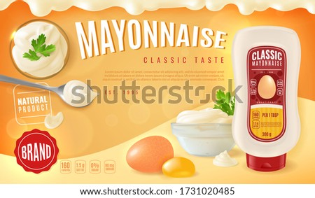 Mayonnaise plastic bottle horizontal advertising poster with a presentation of realistic mayo in a glass bowls at different angles. And related products-egg, yolk and parsley. Vector illustration #1731020485
