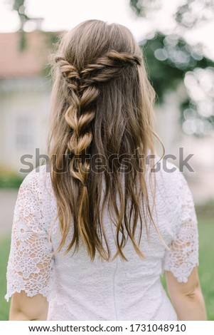 Boho hairstyle. Bridal hairstyle. Modern bridal look in bohemian style #1731048910