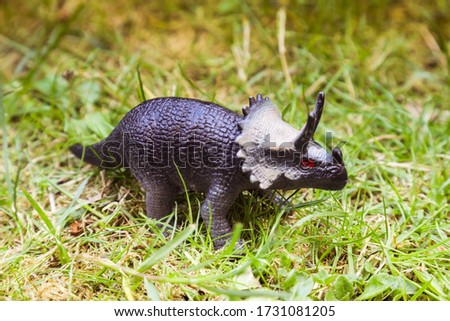 Triceratops dinosaurs toy grass background strong reptile.