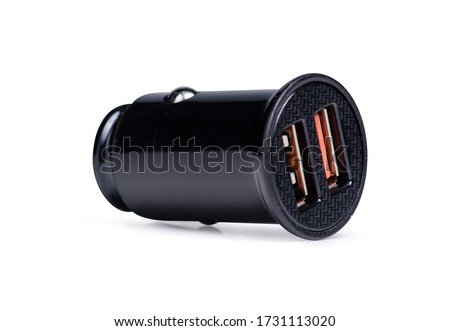 Car USB power supply in the cigarette lighter on a white background isolation #1731113020