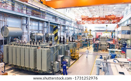 industrial factory in mechanical engineering for the manufacture of transformers - interior of a production hall