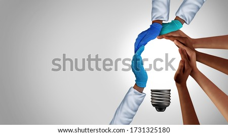 Health community idea and medical team thinking together as a diverse group of people and essential hospital workers coming together as a light bulb as a medicine metaphor with 3D elements.