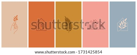 Vector set of abstract logo design templates in simple linear style - cozy home emblems, houses and plants  stay at home - symbols for social media stories highlights and posts for interior stores and