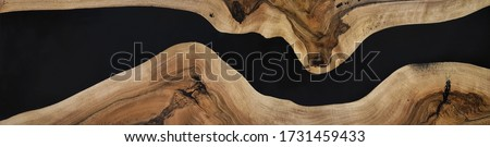 black epoxy resin panel with walnut, texture for design