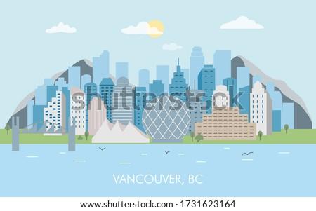 Vancouver city skyline vector. Skyline of Vancouver city. Canada, British Columbia modern vector illustration. #1731623164