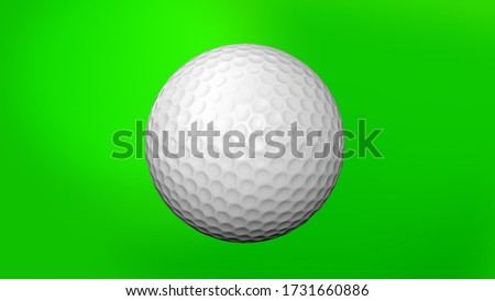 Golf Ball on Green Screen seamless. Looped Golf Ball 3D Animation of Spinning Bal 3D rendering