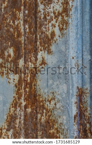 Rust. Fragment of a rusty metal surface. Macro photo. Grunge texture. Red rusty stains on iron. Rock texture. Rust texture. Abstract grunge background. Rust on a metal flooring. #1731685129