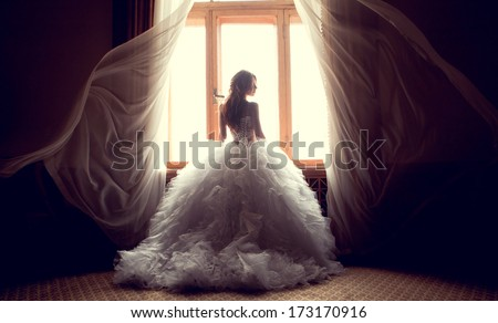 Portrait of the beautiful bride against a window indoors Royalty-Free Stock Photo #173170916