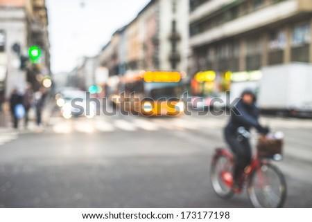blurred city and people urban scene #173177198