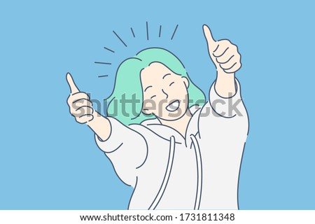 Like sign, joy, approval, happiness concept. Young happy smiling woman or girl teenager cartoon character showing thumbs up. Success and goal achievement facial expression flat vector illustration. Royalty-Free Stock Photo #1731811348