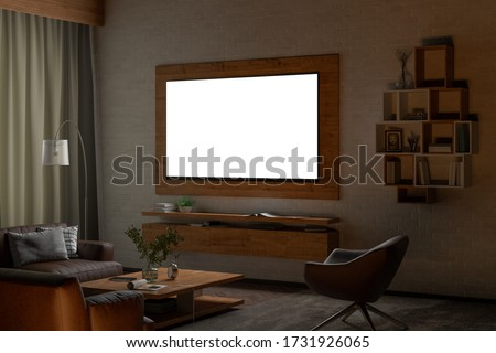 Glowing TV screen at night on the white brick wall  of modern living room. Clipping path around screen. 3d illustration