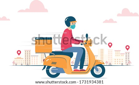 Vector illustration of a delivery man, wearing a mask because of coronavirus, delivering an order on a motorcycle Royalty-Free Stock Photo #1731934381