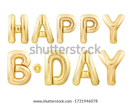 Happy Birthday message made of golden inflatable balloon letters isolated on white background. Happy birthday party balloons concept