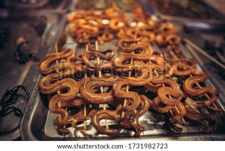 roasted snakes on display at an Asian market in Cambodia at night Royalty-Free Stock Photo #1731982723