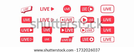 Set of live streaming icons. Large set of buttons. Live streaming, broadcasting, online stream. Template for tv, shows, movies and live performances. Social media concept. Vector illustration #1732026037