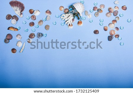 Decorative  crab on seashells and water drops background. Sea. Seashells on blue background.  Anchor thermometer. Abstract sea mood picture.